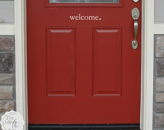 welcome heart Front Door - Front Porch - Entry Way - Vinyl Lettering - Wall Stickers - Vinyl Wall Art Graphic Stickers Decals 1510