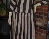Vintage 40s 50s Italy Bonwit Teller Full Skirt Top Suit All Wool Two Tone Polka Dot S M L 2 pc Set