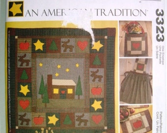 McCalls 3323 An American Tradition Quilt Pattern. Apron, Pillows, Tote, Placemat, Quilt Wallhanging. Christmas Decorations Uncut