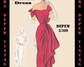 Vintage Sewing Pattern 1950's Cocktail Dress in Any Size - PLUS Size Included - Depew 5709 -INSTANT DOWNLOAD-