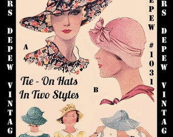 Vintage Sewing Pattern 1930's Tie On Sun Hat in Two Versions Digital Reproduction Depew 1031 -INSTANT DOWNLOAD-