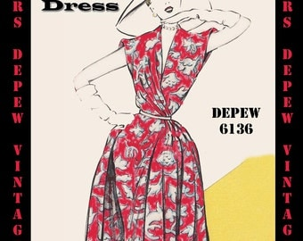 Vintage Sewing Pattern 1950's Dress in Any Size - PLUS Size Included - Depew 6136 -INSTANT DOWNLOAD-