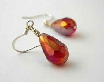 Red Drop Glass Earrings Dangle Earrings