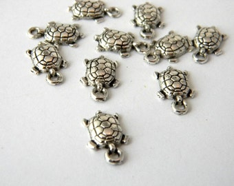 Small Turtle Charms Set of 10 Silver Color 15x9mm Tortoise Charms
