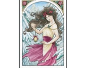 Holiday Nouveau Christmas Lady with Bell and Poinsettia Art Print CHOOSE YOUR SIZE