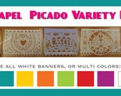 Wedding Banner (4 Pack) VARIETY Papel Picado Fiesta Wedding Flags - Mexican Hand Cut Tissue Paper Flags