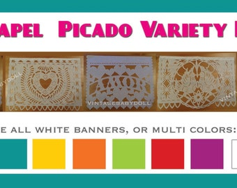 Wedding Banner (5 Pack) VARIETY Papel Picado Fiesta Wedding Flags - Mexican Hand Cut Tissue Paper Flags