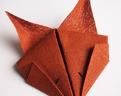 Fox Brooch, Origami Fox, Red Brown Cotton Textile Origami Animal Brooch Pin