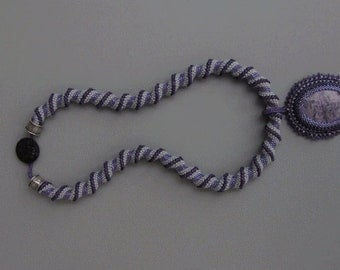 Pando Cellini Necklace with Charoite Beaded Pendant