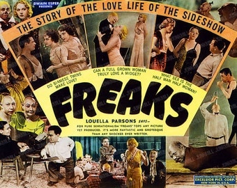 FREAKS - Large Digital Printable Image - Todd Browning's Freaks Movie Art, Cult Classic Film Poster, Single Image Download, Wall Art, 8 X 11