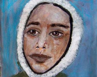 Digital Print - Woman Portrait Painting - Green Coat - Winter Wall Hanging - Bundled Up