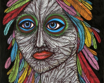 Feather Head - 8x10 archival giclee print