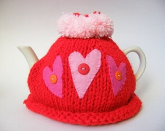 Hand Knitted 1950's style retro red hearts tea cosy with pink pom poms, February gifts, Valentines gifts, Valentine, Romance, Gift ideas,