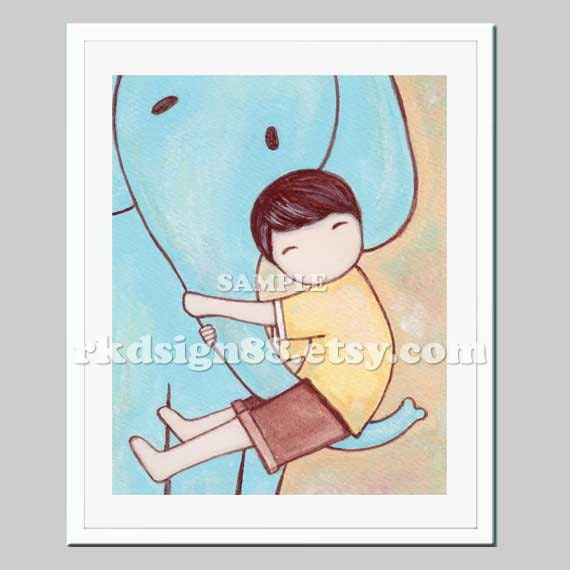 Baby boy nursery art print elephant baby art nursery jungle childrens decor animal art kids Fun 8x10