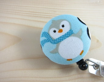 Retractable Badge Reel ID Badge Holder Lanyard - Penguin w/ Scarf