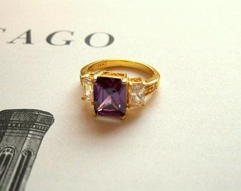 Vintage Amethyst Cubic Zirconia 10K Gold  Ring Size 8