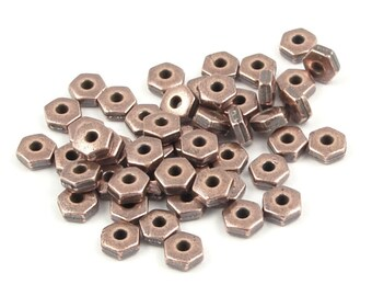 50 Copper Beads 4mm Hex Heishi Beads Antique Copper Spacer Beads TierraCast Pewter Metal Beads (PS133)