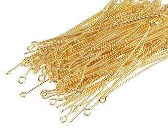 "144 2"" 21 Gauge Gold Eye Pins - Gold Plated Eyepins - 21 g Eye Head Pins - Gold Findings - 2 Inch Eye Pins (FB8)"
