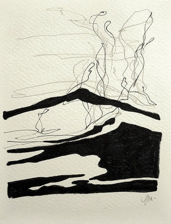 Water splash original drawing landscape of ocean waves