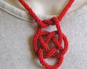 Red Hot Asian, Peyote Stitch, Seed Bead, Avant Garde, Vintage, German Made Necklace 17 Inches Long V-V