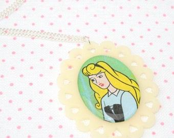 SALE Sleeping Beauty Illustration Necklace OOAK
