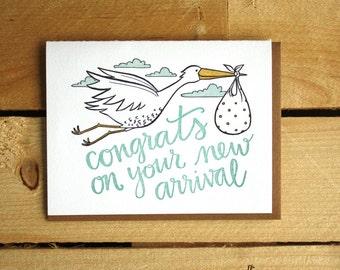 Congrats Baby Stork Letterpress Card