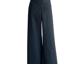 RESERVED 36L / Authentic 13-Button SAILOR Pants in Black 100% Wool US Navy Issue Wide Leg Felted Wool Slacks Swing Style