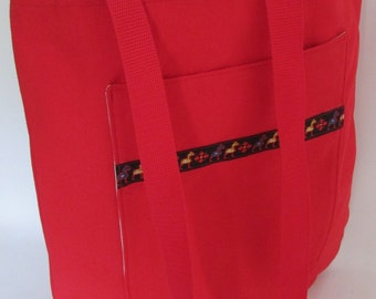 Large Canvas Tote cross body bag shoulder bag bright red