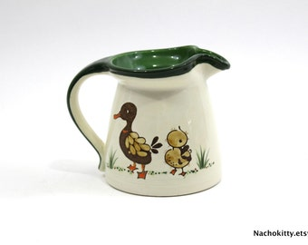 1920s Ducks in a Row Pitcher, Hand Painted Pottery