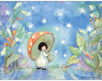 1 Fairy Periwinkle Sky Postcard, a child dreams of holding a mushroom umbrella, fairy post card