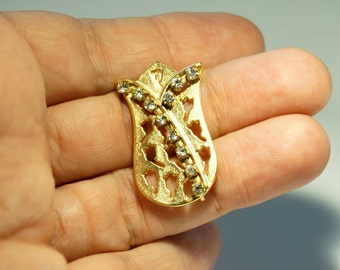 1 pc Matte 22K Gold Plated Base Tulip with Rhinestone Pendant - Tulip 35x20mm (008-013GP)