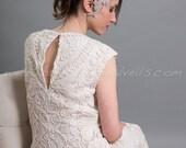 Feather Hair Piece, Birdcage Fascinator, Bridal Head Piece, Rhinestone Hair Clip - CaTina