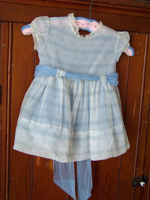 Vintage Nylon Girls Easter Dress By Youngland 1950 S Blue