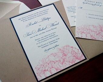 "Hydrangea Wedding Invitation Sample - ""Asheville"""