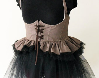 Handmade Steam Punk Underbust Vest with Mini Bustle - Kezbirdie