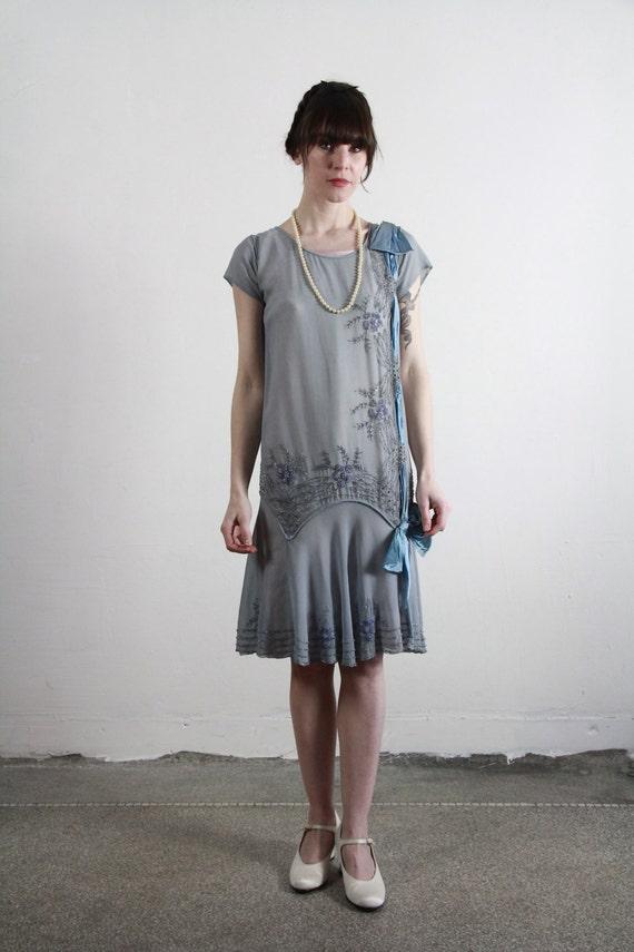 1920s Flapper Dress Antique Silk Gown Sheer Blue By