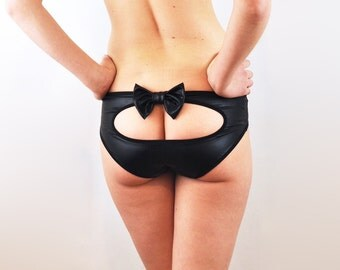 Peep hole panties with black bow lingerie underwear