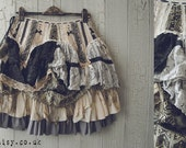 PIXIE Skirt in Black Grey Cream and Tea Stain