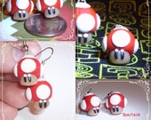 Power up Grow mario brother mushroom dangle earrings red nintendo retro