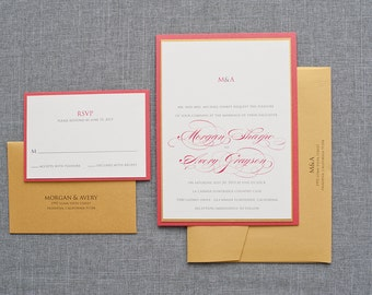 Traditional Gold Custom Wedding Invitation Suite | Morgan & Avery