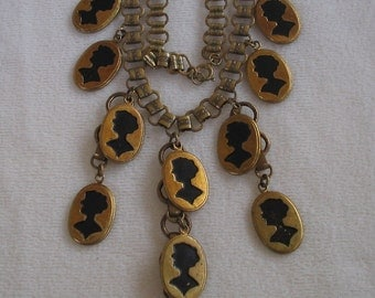 Vintage silhouette necklace  Lady silhouette Lidz bros nyc necklace
