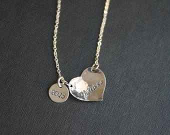 Graduation Heart Necklace, with 2015 Charm- Customized   by I Heart This Jewelry