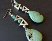 e07 / Natural Turquoise Stone Dangle Earrings with Rotating Silver Metal Triangles separated with Turquoise Ball Beads / 2 1/2""