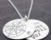 Compass Jewelry - Compass Rose Necklace w/ Hidden Message - Personalized Inspirational Jewelry in Sterling Silver