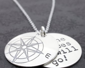 Graduation Compass Jewelry - Compass Rose Necklace w/ Hidden Message - Personalized Inspirational Jewelry in Sterling Silver