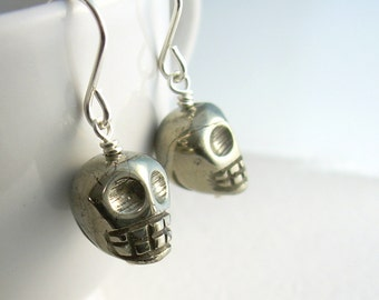 Gold Skull Earrings, Real Pyrite Jewelry, Anatomy Jewelry, Goth Earrings
