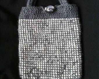 Tunisian Crochet Purse, Gray Purse, Wool-Ease purse, Wool blend purse, Gray and White purse, winter purse, warm purse, crocheted purse