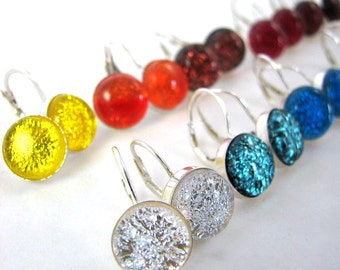 Made to Order - Dichroic Earrings - Sterling Silver Leverback Earrings - You Pick the Color
