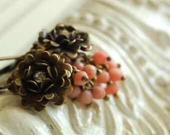peony earrings, flower earrings, botanical jewelry, layered flower earrings, coral cluster dangles, dainty flower jewelry