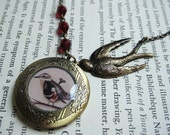 Antique Locket - Caging the Forest Bird - photo locket necklaces, statement necklace